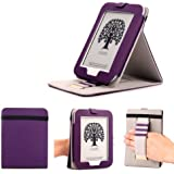 Mulbess - Nook GlowLight 4th Stand Case Cover - Leather Case Cover with Elastic Hand Strap (For Nook GlowLight 4th, Stand Purple)