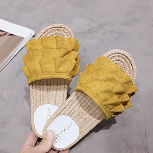 NACOLA Yellow Summer Slippers Fashion Walking Open Beach Toe Flat Leisure Women Shoes xOrRwx
