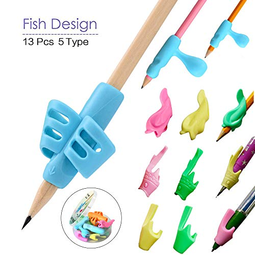 (Amuybeen Pencil Grips Correct Kids Handwriting Grippers Ergonomic Fish Preschoolers Left and Right Special Education Supplies )