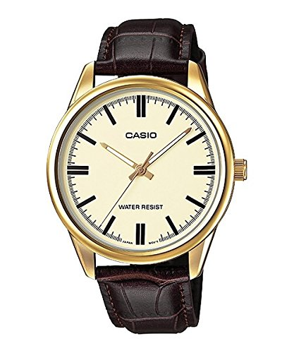 Casio MTP-V005GL-9A Men's Gold Tone Brown Leather Watch Gold Dial