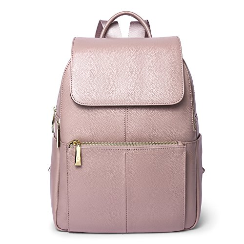 Big Sale Women Genuine Leather Backpack Purse Daily Casual Travel Ladies Schoolbag Large Daypack Laptop by Callaghan Light Pink