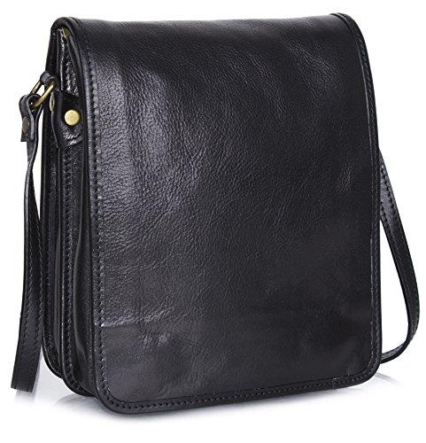 Big bolso Shop para hombre piel auténtica Cruz Cuerpo Bolsa de hombro oficina de trabajo Black - Small Size