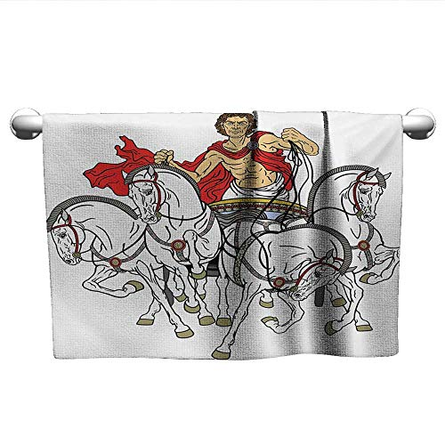 (alisoso Toga Party,Wash Towels Hellenic Man on The Chariot Drawn by Roman Horses Early Ages Equestrian Image Pool Gym Towels Multicolor W 24