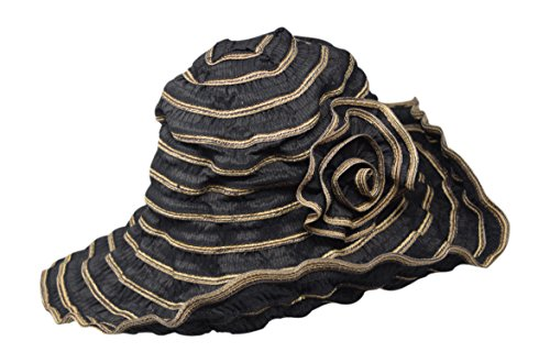 Nickanny's Packable Ribbon Crusher Sun Shade Beach Hat, Adjustable Wide Shapeable Brim, SPF UPF 50 UV Protection, with Flower Accent (Black/Tan) (Hat Ribbon Crusher)