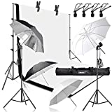 Emart 400W 5500K Daylight Umbrella Continuous Lighting Kit, 8.5x10ft Background Support System with 2 Muslin backdrops (Black and White) for Photo Studio Product, Portrait and Video Shoot Photography Reviews