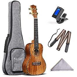 Deviser Concert 23inch professional ukulele Solid Koa Top Koa back & side with Gig Bag & Aquila String & Digital Tuner…