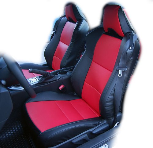 Scion Leather Seats - Iggee Black/Red Artificial Leather Custom fit Front seat Cover Designed for Scion FR-S