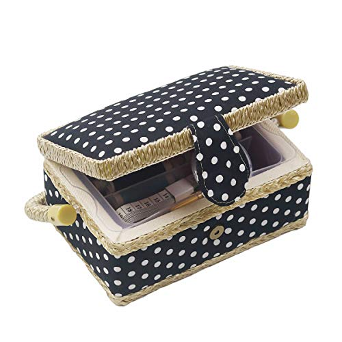 Sewing Basket Kit Sewing Box with Mini Sewing Accessories for Kids, Small (Black Polka Dot)