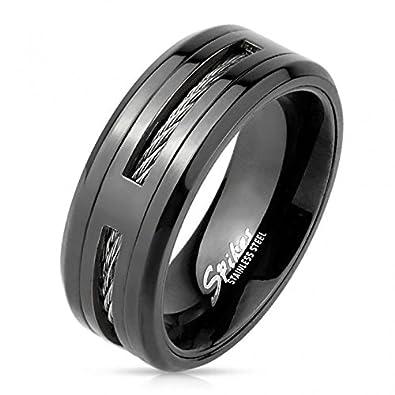 Herrenring schwarz aus Edelstahl – Ring für Männer Jugendliche mit ...