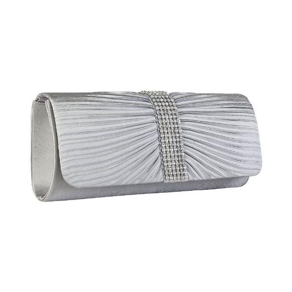 Womens Silver Satin Diamante Ladies Pleated Bow Wedding Bridal Prom Handbag Clutch Bag - clutches