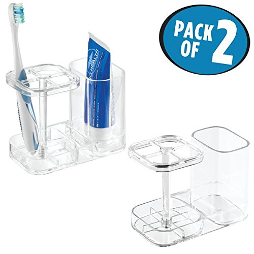 mDesign Bathroom Dental Holder and Organizer for Toothbrushes, Toothpaste – Pack of 2, Clear by mDesign