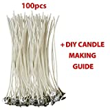 "Arts & Crafts : CozYours 100% NATURAL COTTON CORE CANDLE WICKS WITH TABS FOR CANDLE MAKING, 100 PCS 6"", LOW SMOKE, perfect for making votive, container (jars, tins) and pillar candles (candle wicks for candle making)"