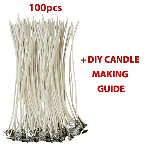 CozYours 100% NATURAL COTTON CORE CANDLE WICKS WITH TABS FOR CANDLE MAKING, 100 PCS 6