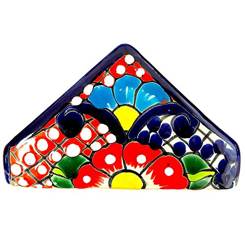 Ceramic Napkin Holder - Colorful Napkin Holder - Authentic Hand Painted Mexican Pottery - Mexican Talavera Servilletero (Multicolor)