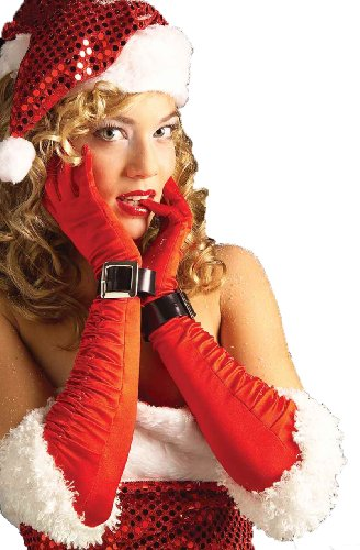 Forum Novelties Women's Miss Santa Satin Gloves, Red/White, One Size ()