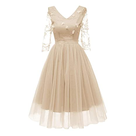 f1135066f619 Amazon.com: Womens Vintage Dress, Sexy 3D Flower Lace Cocktail Prom Party  Fairy Dress Backless Formal Evening Gown Aline Swing Dress: Sports &  Outdoors