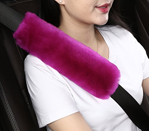 Dotesy Auto Genuine Sheepskin Seat Belt Cover,Universal Fuzzy Pure Wool Car Seatbelt Cover Shoulder Pads for Adults Kids Children,Safety Belt Strap Chest Protector Neck Cushion,Purple Pink