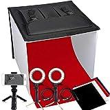 Portable Photo Studio Box, FOSITAN 16 x 16 inches Foldable Table Top PhotographyLighting Light Box Shooting Tent (900lm X 2, 7W LED Ring Head X 2, Tripod X 3, Backdrop X 4, 3200K-9000K, K40)