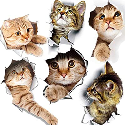 6PCS 3D Wall Stickers Cats Self Adhesive, Kids Wall Decals/Removable Vinyl Art Murals for Living Room Baby Rooms Bedroom Toilet House Wall DIY Decoration