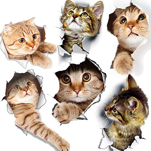 6PCS 3D Wall Stickers Cats Self Adhesive, Kids Wall Decals/Removable Vinyl Art -