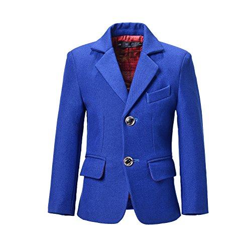 Yuanlu Boys Blazer Kids Plaid Jackets Toddler Coat Outfit for Weddings Size 12 Blue by Yuanlu