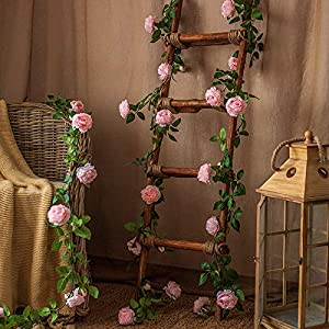 LSKY 70inch Peony Flower Garland with 12 Peonies Flower Heads Artificial Peony Silk Flower Vine Garland for Peony Wreath Wedding Arch Garden Wall Decor 9