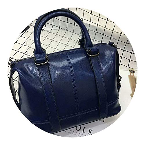 Luxury Genuine Leather Boston Messenger Bag Crossbody Bag Small Women Leather Purple Tote,blue (Messenger Boston Bag)