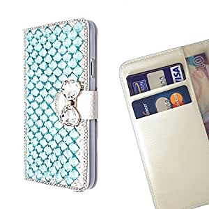 FOR LG G3 D858 Blue Bow Bownot Bling Bling PU Leather Waller Holder Rhinestone - - OBBA