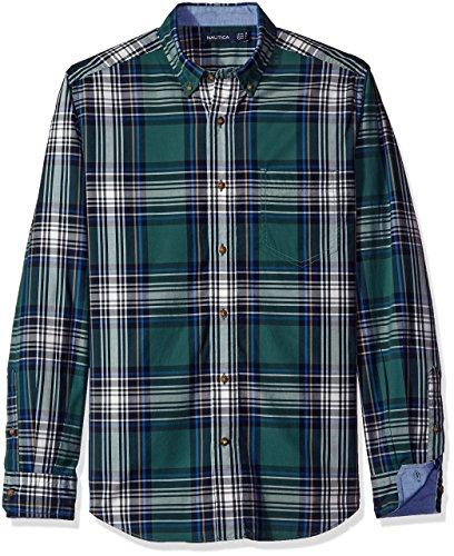 Nautica Men's Classic Fit Navy Plaid Shirt, Lakeside Green, - Lakeside Shipping Free