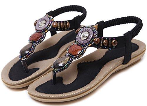 Plano Thong Sandalias Mujer Playa Con brillo Beads Antideslizante Soft Sole Elástico Bohemio Sandalias de BIGTREE Negro