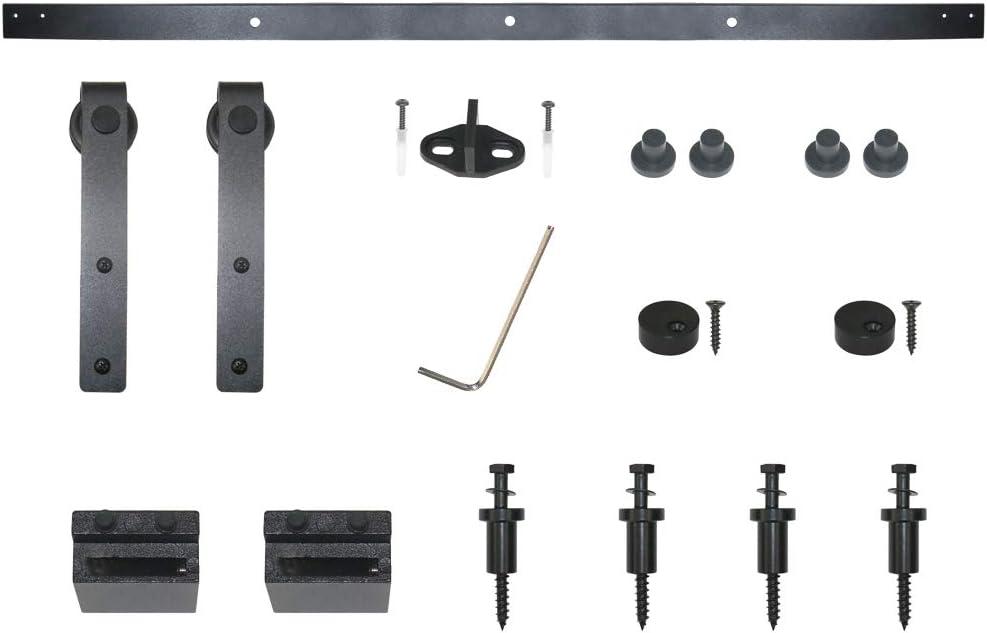 Hahaemall Heavy Duty Metal Steel Black Super Mini Sliding Barn Door Hardware Track Roller Kit Hanging TV Stand Cabinet System 7FT Double Kit
