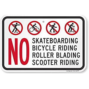 """No Skateboarding, Bicycle, Scooter, Rollerblading"" Sign By SmartSign 