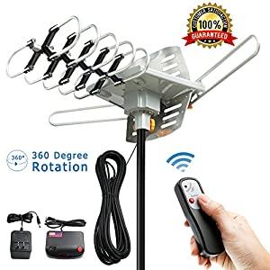 TV Antenna - Outdoor Amplified HD Digital HDTV Antenna 150 Mile Range Motorized 360 Degree Rotation, Vansky TV Antenna for 2 TVs Support - UHF/VHF Signal Wireless Remote Control - 33FT Coax Cable