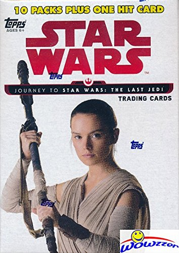 (2017 Topps Journey to Star Wars: The Last Jedi EXCLUSIVE Factory Sealed Retail Box with 10 Packs & VERY SPECIAL EMBLEM Card! Includes 10 Parallels & 10 Insert Cards! Look for Autographs! WOWZZER!)
