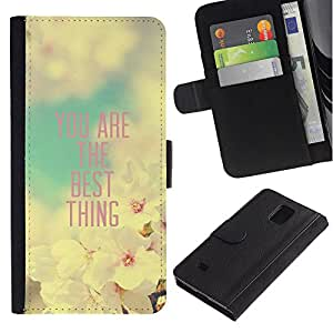 KingStore / Leather Etui en cuir / Samsung Galaxy Note 4 IV / Novia Apple Blossom Cita Primavera
