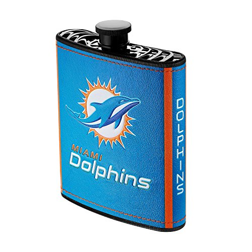 - Pro Specialties Group NFL Miami Dolphins Plastic Hip Flask, 7-Ounce