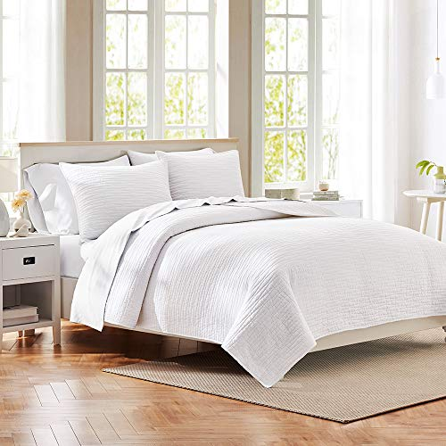 Voile Texture Cotton - HeyDreamy Reversible Quilt Set 3-Piece Pure Cotton Jersey, Ultra Soft, Lightweight and Breathable Coverlet Bedding Set (White, Full/Queen)