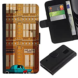 Billetera de Cuero Caso Titular de la tarjeta Carcasa Funda para Samsung Galaxy S5 V SM-G900 / Deco Car Brown Teal City Building / STRONG