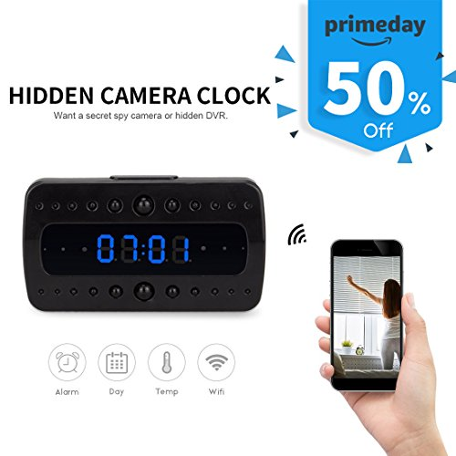 FREDI HD 1080P Wifi Hidden Camera Alarm Clock Night Vision/Motion Detection/Display Temperature Home Surveillance Cameras