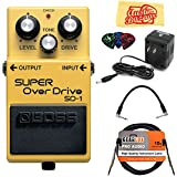 Boss SD-1 Super Overdrive Guitar Effects Pedal Bundle with 9V Power Adapter, Gearlux Instrument Cable, Patch Cable, Picks, and Polishing Cloth