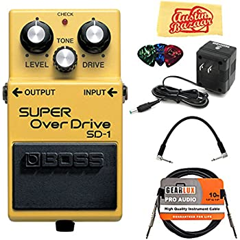 Boss SD-1 Super Overdrive Bundle with Power Supply, Instrument Cable, Patch Cable, Picks, and Austin Bazaar Polishing Cloth