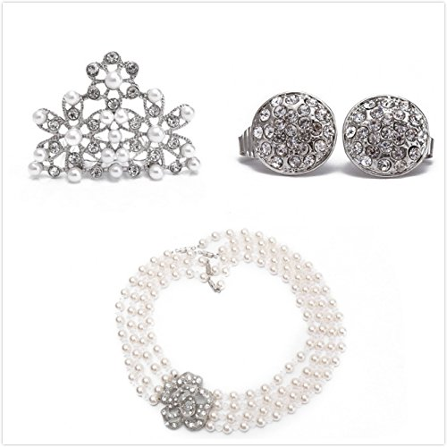 Utopiat Flapper Costume Jewelry Set-Audrey Hepburn Breakfast at Tiffany's Bridal Pearl Jewelry Set for Age 7+