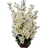 Bageecha Garden's Artificial Blossom Flower with Wooden Vase(10 inchs/ 25 cms) for Indoor and Outdoor Decoration of Your Office and Home