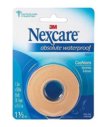 Nexcare Absolute Waterproof Wide Tape, 1.5' X 5 yd. Per Roll (6 Rolls) by Nexcare