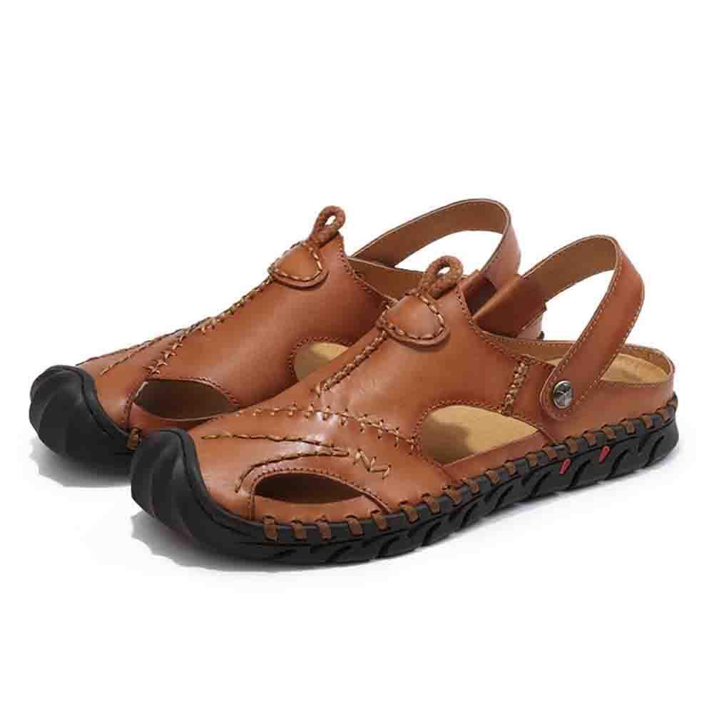 Unbekannt Strand Männer Baotou Leder Sandalen Geschlossen Zehe Bequem Schuhwerk Strand Unbekannt Sommer Draussen Schuhe,schwarz,43 Braun 95851b