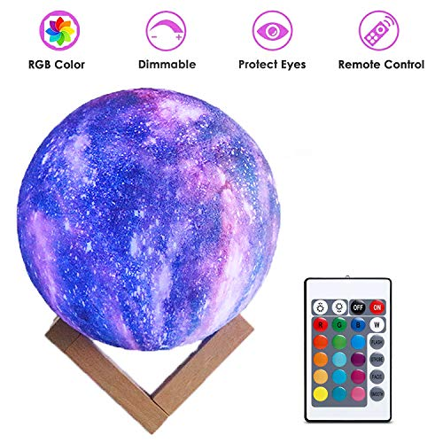 Garoma 3D Printing Moon Lamp Moon Light Kids Night Light 16 Color Change Touch and Remote Control Star Light As a Gift Ideas for Boys or -