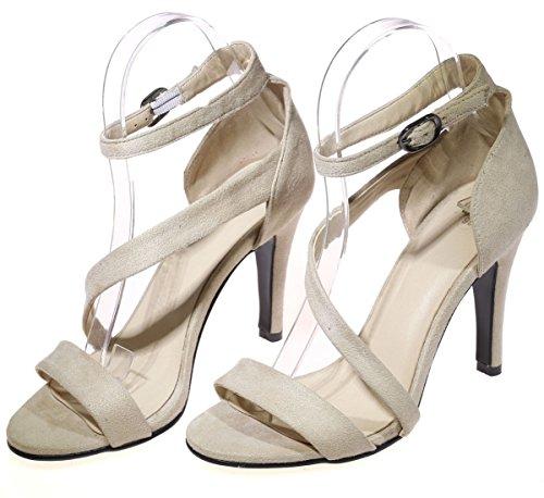 BigTree Women Sandals Peep Toe High Heel Ankle Strap D'Orsay Handmade Dress Sandals Beige BBvkooorC1