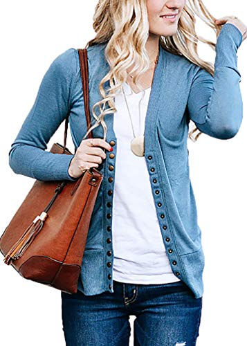- JNTOP Women's Women's V-Neck Long Sleeve Soft Basic Knit Snap Cardigan Titanium 3X-Large
