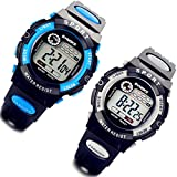 Lancardo 2 Pack Men's Boy's Simple Digital LCD Rubber Band Sport Wrist Watch with Gift Bag