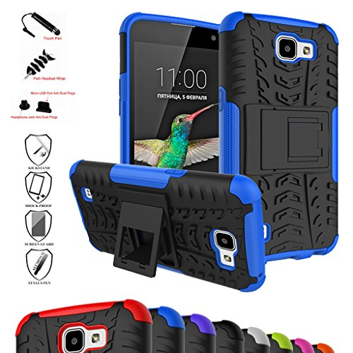 LG K4 Case,Optimus Zone 3 Case,Spree Case,Mama Mouth Shockproof Heavy Duty Combo Hybrid Rugged Dual Layer Cover with Kickstand For LG K4/Optimus Zone 3/LG Spree (With 4 in 1 Free Gift Packaged),Blue